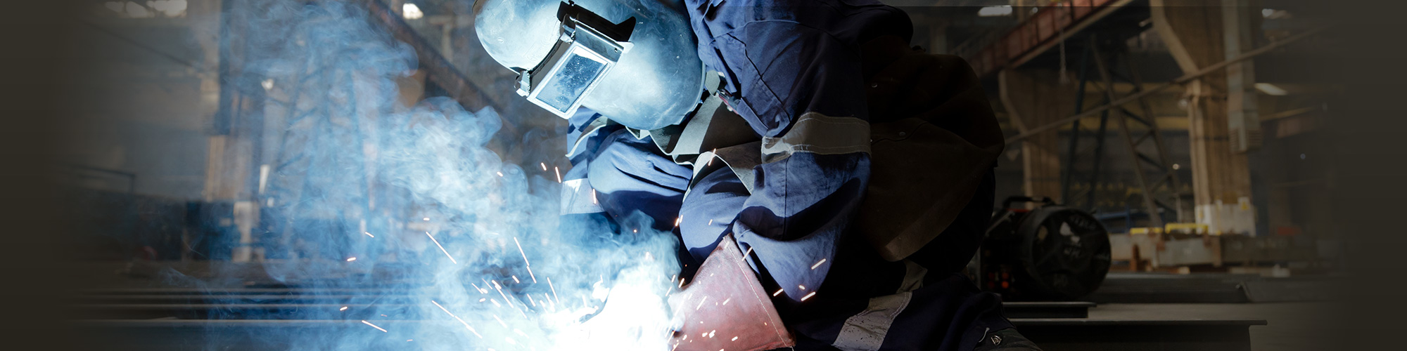welder with a mask welding