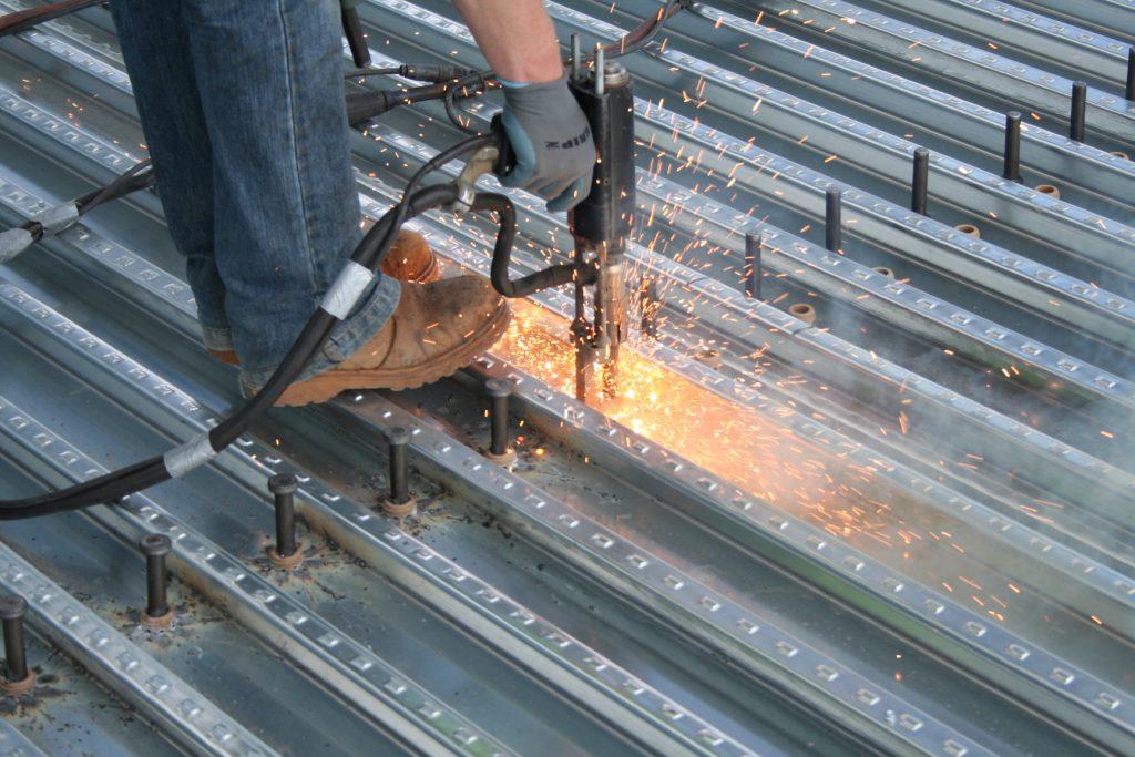 weld thru deck action shot